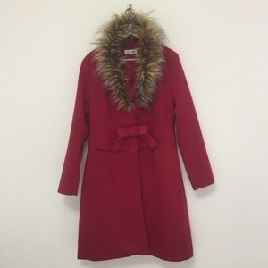 Jackets & Blazers - Red light coat with faux fur collar